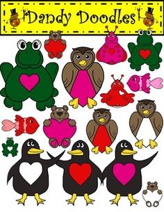 Sweetheart Critters Clip Art: 23 PNG images (16 color and 7 bw) Includes fish, frogs, owls, penguins, bugs, and bears.  $