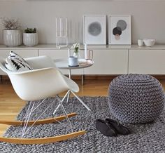 looks like my front room.eames rocker and knitted pouffe with sideborard Via Jokernord Living Dining Room, Home And Living, Decor, Interior Design, House Interior, Home, Eames Rocking Chair, Home Furniture, Home Decor