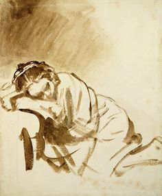 Rembrandt van Rijn, A Woman Sleeping, c. ink, The British Museum, London. Wonderful to see the hand of the maker so clearly. Brush Drawing, Gesture Drawing, Life Drawing, Drawing Sketches, Painting & Drawing, Art Drawings, Figure Drawings, Woman Drawing, Rembrandt Drawings