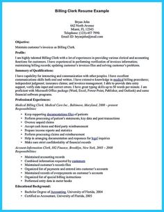 Billing Clerk Resume Sample Will Give Ideas And Provide As References Your  Own Resume. There Are So Many Kinds Inside The Web Of Resume Sample For  Billing ...  Billing Clerk Resume