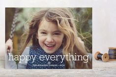 """Happy Everything"" - Full-Bleed Photo, Modern Holiday Postcards in Snow by annie clark."