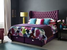 Royal Comfort bed with winged headboard in plum.