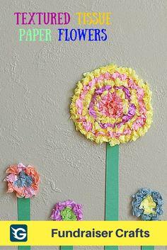 Flower Crafts For Kids Textured Tissue Paper Flowers