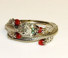 Sterling Silver Chinese Dragon Bangle Bracelet with Coral Red Accents