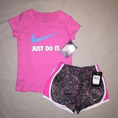 GIRLS SIZE 4 NIKE JUST DO IT SHIRT PRINT SHORTS OUTFIT LOT OF 2 NWT