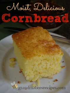 Moist, Delicious Cornbread!  NOT dry and crumbly like other cornbread recipes.  I want to make this for Thanksgiving!  ♥