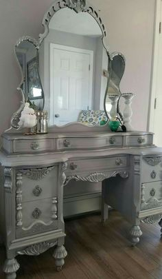 This Amazing Vintage Vanity U0026 White, Gray Chalk Paint, Slightly Distressed,  Metallic Silver Gilding Wax, General Finishes Brown Glaze.