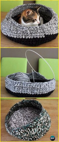Crochet Left-over Yarn Cat Nest Instruction - Crochet Cat House Patterns Crochet Yarn, Crochet Cat Toys, Chat Crochet, Crotchet, Crochet Animals, Crochet Home, Crochet Crafts, Crochet Projects, Crochet Stitches