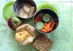 Lunch Box Ideas – using seasonal fruit and veg.  Post includes links to recipes for egg and bacon tarts and easy oat slice