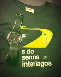 Ok I know its the #abudhabigp weekend but my #interlagos #tshirt arrived late ... Just love it as always when #tlab is behind the design. #senna #ayrtonsenna #brazilgp #f1 #formulaone #formula1 #green #gogreen #pam177 #panerai #panerista #titanium #mjleather #motorsport
