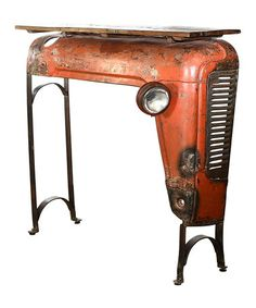 Another great find on #zulily! Rusty Red Wood Top Upcycled Vintage Tractor Console #zulilyfinds