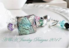 Murano Glass Bracelet, White Gold Venetian Glass Bracelet, Aqua Purple Black Silver Murano Glass Jewelry, Murano Glass Statement Bracelet by hhjewelrydesigns on Etsy