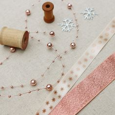 Rose Gold snowflake Ribbon Collection - 5 meters of each