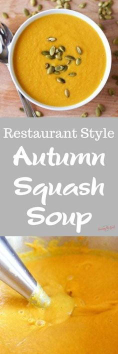 Autumn squash soup is one of my favorite soups at Panera. This is a copycat Panera autumn squash soup recipe and while it is not exact it is delicious, creamy & full of fall flavors. Panera autumn squash soup recipe will be a fall favorite each year. Easy Soup Recipes, Delicious Dinner Recipes, Yummy Food, Yummy Recipes, Chowder Recipes, Recipies, Tasty, Slow Cooker Recipes, Crockpot Recipes