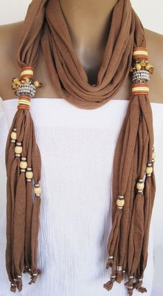 SULTANA Scarf With Great Beads and Stones by mediterraneanlights Scarf Necklace, Fabric Necklace, Scarf Jewelry, Fabric Jewelry, Diy Scarf, Scarf Shirt, Tee Shirt, Shirt Scarves, Knit Shirt
