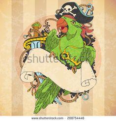 Parrot Bird Tattoo | Parrot tattoo Stock Photos, Illustrations, and Vector Art