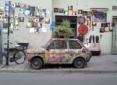 Colorfull car in Kazimierz district, Krakow, Poland !
