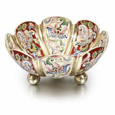 Russian Gilded Silver and Shaded Enamel Bowl, Maria Semyonova, Moscow, circa 1900