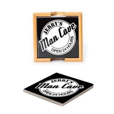 Ceramic Coasters (set of 4) - Man Cave Personalized with Name
