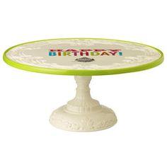 Cake Serveware - Happy Birthday Cake Pedestal serving tray (($))