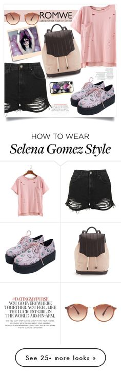 """""""TSHIRT ROMWE HIPSTER"""" by ferreirabruna on Polyvore featuring Post-It, Topshop, Ray-Ban, Kate Spade and rag & bone"""