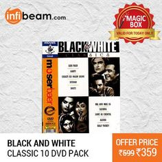 Black And White Classic 10 DVD Pack- Volume 2 at Lowest Rate from Infibeam's MagicBox !  Assuring Lowest Price in Magic Box Deals !   HURRY OFFER VALID FOR TODAY ONLY !!  #MagicBox #Deals #DealOfTheDay #Offer #Discount #LowestRates #DVDPack #Volume #Hindi #Movie #Songs #Mp3
