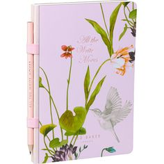 Ted Baker Oriental Bloom Notebook and Pen - Small ($23) ❤ liked on Polyvore featuring home, home decor, stationery and pink