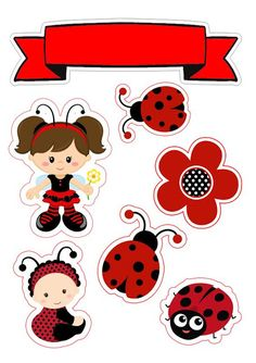 Free Baby Shower Printables, Free Printables, Eid Crafts, Crafts For Kids, Kids Planner, Baby Girl Items, Label Shapes, Ladybug Party, Printable Stickers