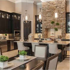 Stacked stone accents in kitchen