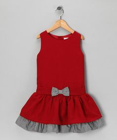 Getting dolled up is extra delightful in this fabulous frock. With full lining, handy buttons and bow-kissed drop-waist silhouette, this classic dress is a fluttering, functional gift of girly glam. Frocks For Girls, Kids Frocks, Little Dresses, Little Girl Dresses, Girls Dresses, Dresses Dresses, Toddler Dress, Baby Dress, Infant Toddler