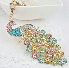 Peacock Rhinestone Keychain Handbag Purse Charm A very nice accessory for  ladies handbag or just use mainly for your keys. If you love sparkly  accessories ... 671718b6f