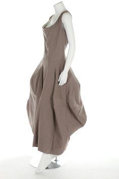 * Grey gabardine dress, Autumn-Winter 1998,  the skirt with thick blanket-like interlining to support the irregular folds - Comme des Garçons