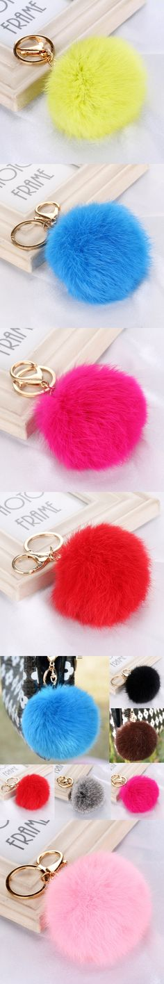 LNRRABC 8CM Faux Rabbit Fur Keychain Ball PomPom Cell Phone Car Keychain Pendant Handbag choker Metal Buckle Charm Key Ring  666