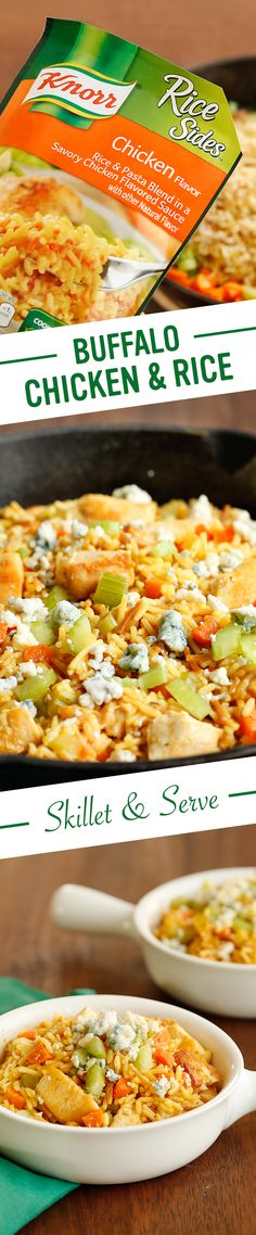 The best weeknight dinner ideas are full of flavor, easy to prepare, and family & budget friendly. Make Knorr's delicious and savory Buffalo Chicken & Rice Skillet a new favorite supper food by following this recipe: 1. Cook chicken 2. Add water, Knorr® Rice Sides™ - Chicken flavor, carrots, & celery 3. Stir in chicken & hot sauce. Serve sprinkled w/ blue cheese & chopped celery. Enjoy!
