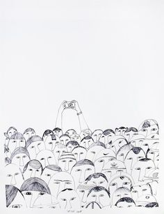 vjeranski:  vjeranski:  Ningeokuluk Teevee (b. 1963, Cape Dorset)Sell Out Crowd, 2010ink, 25.5 x 19.5 in.
