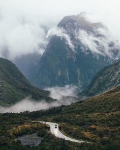 Mountain roads and moody skies,
