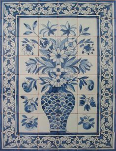Azulejos de Azeitão has a large selection of Dutch, Spanish, Portuguese, English and Islamic tiles, dating as early as the century up to the early part of the century. Tile Murals, Tile Art, Mosaic Tiles, Victorian Tiles, Antique Tiles, Portuguese Tiles, Portuguese Food, Spanish Tile, Decorative Tile
