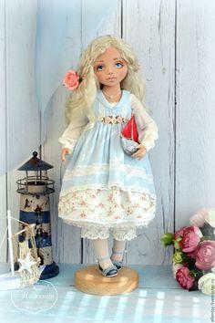 Купить Юная Ассоль, текстильная кукла - голубой, белый, алый, Ассоль, алые паруса, девочка