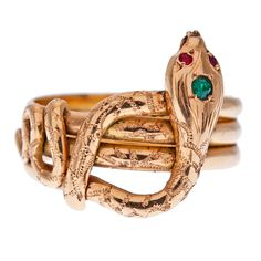 1880s antique emerald & ruby rose gold snake ring