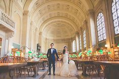 Intimate East-Meets-West Boston Wedding, Couple in Library
