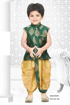 Green sherwani with yellow dhoti shalwar for kids Baby Boy Dress, Baby Boy Outfits, Kids Outfits, Baby Dresses, Kids Dress Wear, Kids Wear, Sherwani, Traditional Dress For Boy, Kids Kurta