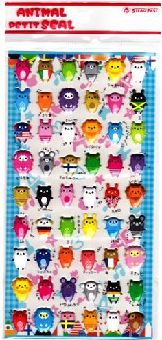 Stead Fast Japan Funny Animals Puffy Sticker Sheet (B) Kawaii