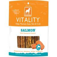 Dogswell Vitality Treats for Dogs, Salmon Jerky, 15-Ounce Package - List price: $15.99 Price: $12.66 Saving: $3.33 (21%)