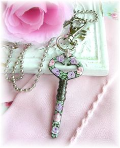 Antique Sewing Machine Key Necklace Hand Painted Pink Lilac Roses Purse Pull Bag Charm by TheVintageHeart