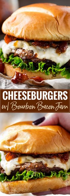 Cheeseburgers with Bourbon Bacon Jam | The only thing better than a juicy cheeseburger on a toasted bun, is a juicy cheeseburger topped with homemade bourbon bacon jam! Regular condiments are a thing of the past! | http://thechunkychef.com