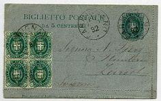 B 1, 5 c. Umb. da Carmignano 26 GIU 92 in Svizzera con agg. quartina 5 c. stemma (44).