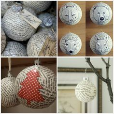 Risultati immagini per navidad en papel mache Christmas Angel Ornaments, Christmas Decorations To Make, Christmas Balls, Rustic Christmas, Simple Christmas, Holiday Crafts, Christmas Holidays, Yule, Navidad Diy