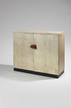 Eyre de Lanux: Wrap furniture parchment rectangular center tap amber, black lacquered interior. Circa 1930.