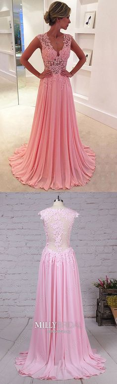 Pink Prom Dresses Modest,Long Formal Evening Dresses,V-neck Military Ball Dresses Chiffon,Unique Wedding Party Dresses Lace Pageant Dresses For Teens, Prom Girl Dresses, Best Prom Dresses, Prom Dresses Online, Prom Gowns, Ball Dresses, Party Dresses, Long Dresses, Gorgeous Prom Dresses