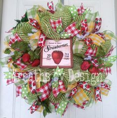 Strawberry Spring/Summer Wreath by WreathsbyDesign1 on Etsy, $85.00